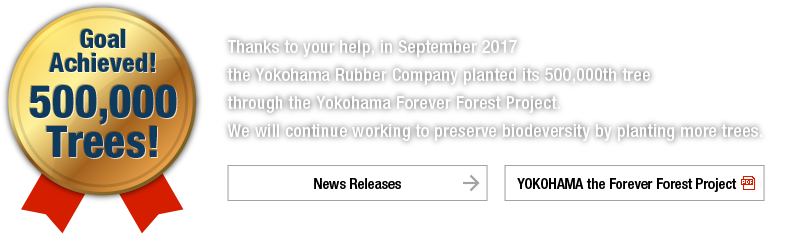 Goal achieved! 500,000 trees! Thanks to your help, in September 2017 the Yokohama Rubber Company planted its 500,000th tree through the Yokohama Forever Forest Project. We will continue working to preserve biodeversity by planting more trees.