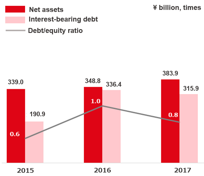 Total net assets, Interest-Bearing Debt and Debt/Equity Ratio