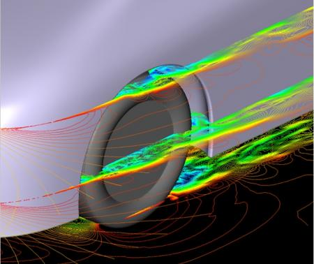 Image of aerodynamic flow patterns for normal tire