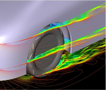 Image of aerodynamic flow patterns for aerodynamic tire with new fin pattern