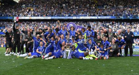 Chelsea FC, celebrating the championship in England's Premier League