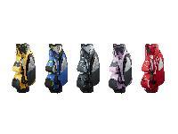 「RAINBOW POCKETS」のキャディバッグ。カラーは左からヤマブキ、アオバ、ヨモギ、スミレ、アカネ