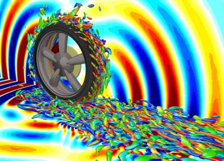Illustration of award-winning simulation technology showing vortical flow structure of air flow around a rolling tire and acoustic waves caused by that flow
