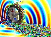 回転するタイヤ周りの空気の渦流れ構造と音響波
