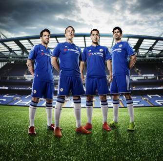 Leading Chelsea FC players outfitted in their new uniforms bearing the YOKOHAMA TYRES logo