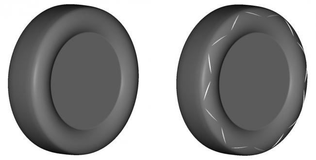 Image of normal tire (left) and aerodynamic tire with new fin pattern (right)