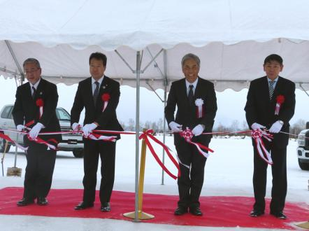 YRC President Hikomitsu Noji (second from right) and Asahikawa mayor Masahito Nishikawa (third from right) at tape-cutting ceremony marking opening of TTCH.