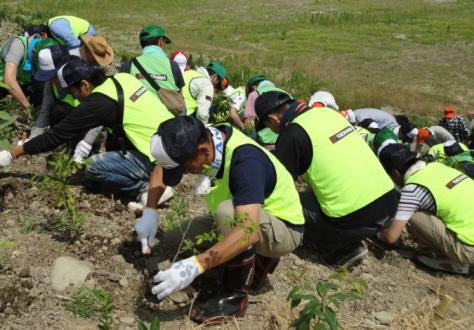 植樹するボランティア