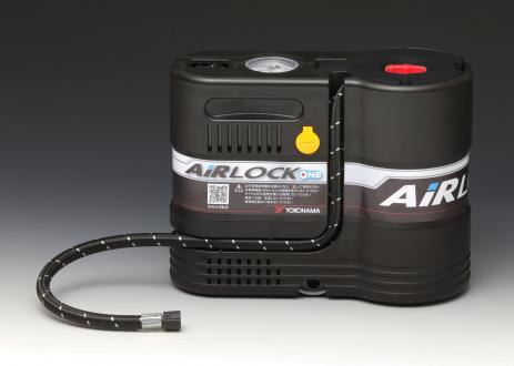 「AIRLOCK ONE」の本体。修理液ボトルとコンプレッサーを一体化し操作性を向上