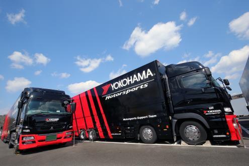 横浜ゴムのレーシングタイヤサービストレーラー
