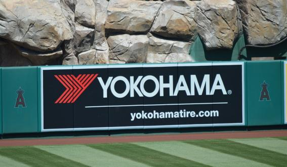 Yokohama Rubber's corporate advertising on the wall of Angel Stadium